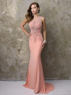 Trumpet/Mermaid Sheer Neck Sleeveless Jersey Beading Sweep/Brush Train Dresses Join prom. Com