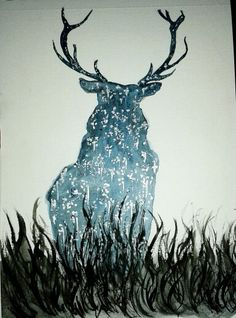 """""""Deer of stars in darkness""""  Gouache and acrylic."""