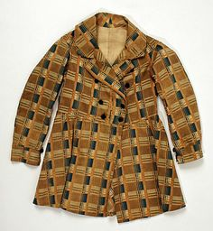 1840s American cotton coat, must be a child's from the size (19in. long); from the Met Museum