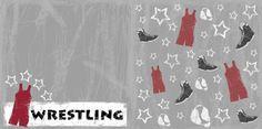 wrestling scrapbook layouts | Wrestling Paper - Wrestling Star Gray