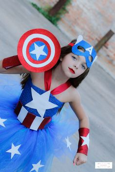 Deluxe Girls Captain America Costume -Captain America- Superhero costume- Girls…