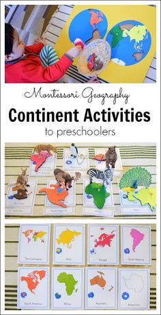 Montessori Inspired Continent Activities for Preschoolers. This would be great for large or small group instruction. Montessori Kindergarten, Montessori Homeschool, Montessori Classroom, Montessori Toddler, Montessori Activities, Preschool Learning, Montessori Elementary, Homeschooling, Montessori Bedroom
