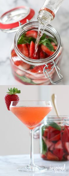 Strawberry Basil Martini - made with homemade Strawberry Basil Vodka!
