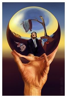 Dali and Escher- a digital painting made from two iconic images by Román Cortés