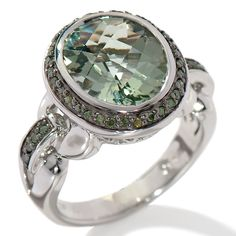 Victoria Wieck Prasiolite and Green Diamond Oval Ring