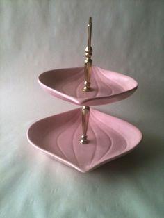 Vintage Pink Doranne Tier Tray. $25.00, via Etsy.