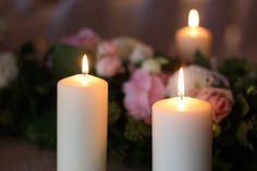 Stumpenkerzen, Hochzeitsmotto aus M wird M, Pastell und Vintage im Riessersee…