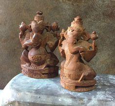 Vintage Hand Carved Wood Ganesh Figurine Your by AquaTerraBazaar