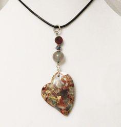 Snakeskin Jasper Jewelry, Snakeskin Jasper Heart, Gray Agate, Red Brecciated Jasper Pendant Necklace, Multicolor Gem Heart, Healing Gems by DesignDimensions on Etsy