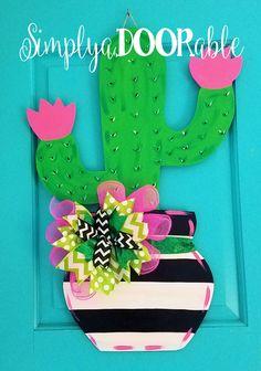Cactus Wood Door Hanger by SimplyaDOORable, Cactus Door Decor, Cactus Wreath, Ca. Wood Crafts, Diy Crafts, Candy Crafts, Burlap Door Hangers, Southwest Decor, Cactus Decor, Wood Cutouts, Front Door Decor, Diy Door