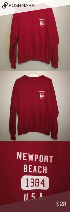 Brandy Melville Newport Beach pullover Super cute pullover sweatshirt from Brandy Melville. Is red with Newport Beach 1984 USA on left chest in white lettering. Perfect condition/no flaws Brandy Melville Tops Sweatshirts & Hoodies