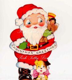 Santa and His Toys Vintage Digital Greetings by poshtottydesignz                                                                                                                                                                                 もっと見る