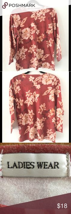 """CUTE FLORAL """"VINTAGE WASH"""" Top Sz L NWOT LADIES WEAR FLORAL TOP. SLEEVES hit just above the wrist. 100% cotton. Soft vintage wash. Fun colors to pair with. EXCELLENT condition. No rips or stains. Smoke free environment. Armpit to armpit flat: sleeve from armpit: 17 1/4"""" top of shoulder to bottom:  26 1/2"""" shoulder to shoulder at widest: 18"""" LADIES WEAR Tops"""