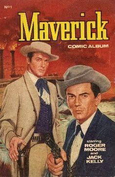 "Sir Roger Moore ""George [Lazenby], Timothy [Dalton] and Pierce [Brosnan], we've been together. Vintage Comic Books, Vintage Comics, Maverick Tv, Jack Kelly, 60s Tv, Western Comics, Vintage Television, Tv Westerns, Old Shows"