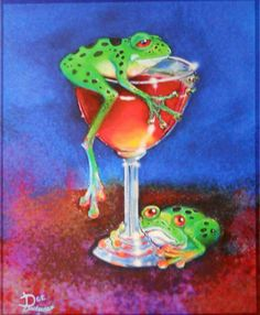 Hoppy Hour Frogs Signed Matted from Original Painting American Known Artist | eBay