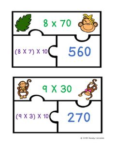 Multiplying Multiples of 10 Game Puzzles 3.NBT.3