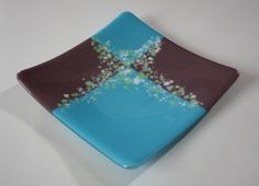 Fused Glass Plate  Blue and Purple With Mint and by OnlineGlass, $25.00