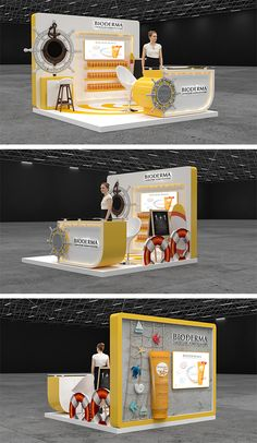 Bioderma Booth at City Stars - Work-toptrendpin. Exhibition Stand Design, Exhibition Stall, Exhibition Display, Pop Display, Display Design, Kiosk Design, Store Design, Star Work, Tv Decor