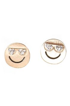 "Antique gold fun emoji studs with rhinestone sunglasses. Simple and just fun. 3/8""L x 3/8""W Post Back High Polished Finish Light Weight"