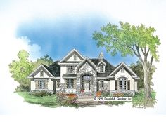 French Country House Plan with 2387 Square Feet and 4 Bedrooms from Dream Home Source | House Plan Code DHSW41779