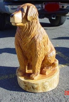 Golden Lab chainsaw carved commissioned sculpture