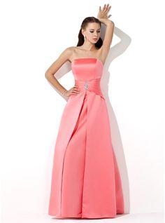 A-Line/Princess Strapless Floor-Length Satin Bridesmaid Dress With Ruffle Beading