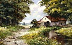 "Képtalálat a következőre: ""reint withaar paintings"" House Landscape, Landscape Photos, Landscape Art, Landscape Paintings, Landscape Photography, Farm Paintings, Cool Paintings, Beautiful Paintings, Beautiful Landscapes"