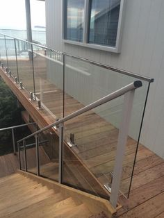 Glass balustrade on deck & going down stairs Glass Stair Balustrade, Frameless Glass Balustrade, Glass Railing, Outside Stairs, Deck Stairs, House Stairs, Glass Stairs, Pool Fence, Decking