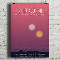 Star Wars - Tatooine - plakat A2, minimalmill Format A3, Geek Art, Geek Stuff, Universe, Star Wars, Bright, Stars, Retro, Crafts
