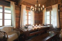 A cosy log cabin with a sauna