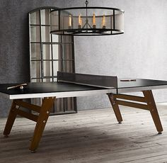 Black Steel & Wood Table Tennis word love for back yard