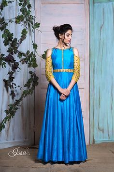 Issa-SCD1001 : Turquoise blue cold shoulder dress!!!They can customize the colour size as per your requirement.To order WhatsApp on 9949944178 or mail @ issadesignerstudio@gmail.com 08 July 2017 Ethnic Outfits, Indian Outfits, Gown Party Wear, Frocks And Gowns, Anarkali Dress, Anarkali Suits, Indian Gowns, Indian Wear, Kurta Designs