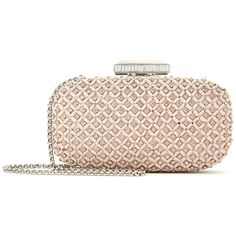 Oscar de la Renta Nude Embroidered Leather Goa Clutch (98,645 PHP) ❤ liked on Polyvore featuring bags, handbags, clutches, nude handbags, chain purse, embroidered purse, leather purses and pink leather purse