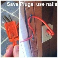 * Okay this isn't a hobby or anything but it's a good tip - Save Plugs Use Nails - Top 68 Lifehacks and Clever Ideas that Will Make Your Life Easier