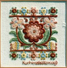 Embroidery of town Karcag, county Bács-Kiskun, Hungary - the so-called embroidery of Cumanians. Chain Stitch Embroidery, Wool Embroidery, Learn Embroidery, Hand Embroidery Designs, Embroidery Stitches, Embroidery Patterns, Machine Embroidery, Crochet Patterns, Simple Embroidery