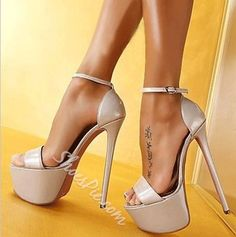 Sexy Solid Color Ankle Strap Platform Sandals