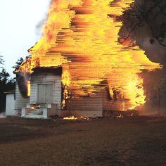 """giacomocarmagnola: """"Church Fire pixel sorting Giacomo Carmagnola """""""