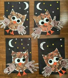 Handprint Crafts Ideas Capturing our little ones handprints is such a perfect way to record how quickly they grow and change. Handprint Crafts for Kids Ideas Kids Crafts, Daycare Crafts, Fall Crafts For Kids, Classroom Crafts, Art For Kids, Owl Crafts Preschool, Fall Toddler Crafts, Fall Art For Toddlers, Fall Classroom Decorations