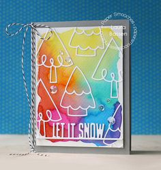 Let It Snow card by Laura Bassen for Paper Smooches - Evergreen dies, Let It Snow die Beautiful Christmas Cards, Christmas Tree Cards, Christmas Makes, Holiday Cards, Christmas Holiday, Album Scrapbook, Make Your Own Card, Paper Smooches, Jingle All The Way