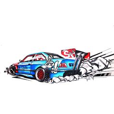 wide body e36 bmw m3 drift car illustration