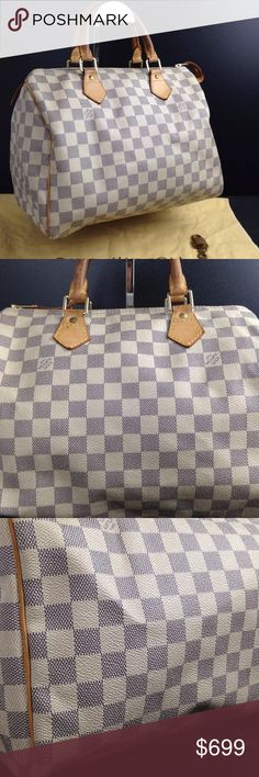 💜100% authentic Louis Vuitton damier speedy  30 Louis Vuitton damier azur speedy 30. Interior is clean, piping is intact and canvas is in great shape. Includes lock and duster Louis Vuitton Bags