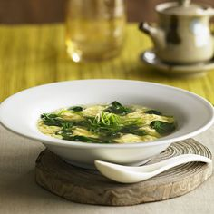 Egg Flower Soup - With your schedule as crazy as it is this month, you need meals that come together superfast. This warming Egg Flower Soup from Quick and Easy Chinese: 70 Everyday Recipes by Nancie McDermott is on the table in just 20 minutes.