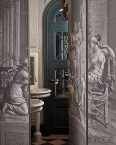 Powder room is hidden behind grisaille panel doors. Photographed by Jean-Francois Jaussaud for Elle Decor. Hidden Rooms, Decoration Inspiration, Secret Rooms, Gilded Age, Wall Treatments, Elle Decor, Wall Murals, Interior And Exterior, Antiques