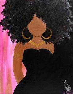paint and sip picture ideas Black Love Art, Black Girl Art, Art Girl, Black Art Painting, Black Artwork, Afro Painting, Woman Painting, African American Art, African Art