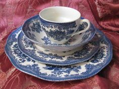 Johnson Brothers ASIATIC PHEASANTS Blue Earthenware 4 piece placesetting England #JohnsonBrothers