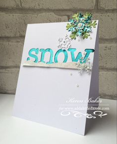 Add a Little Dazzle metal sheeting using Lawn Fawn dies and Die-namics snowflakes  www.kerenbaker.wordpress.com