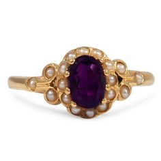 The Sissela Ring from Brilliant Earth circa 1890's A mesmerizing oval amethyst in a rich purple hue is center set within this Victorian-era ring, surrounded by a radiant halo of twenty four cultured seed pearl accents, all set in gorgeous yellow gold (Amethyst approx. 0.70 total carat weight).