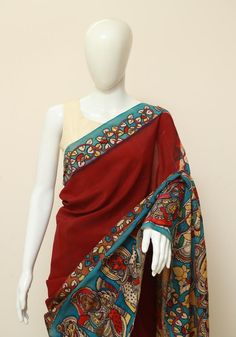 This Beautiful Hand Painted Kalamkari saree in Crepe Silk is unique and one of a kind. Cotton Saree Designs, Blouse Designs, Kalamkari Saree, Indian Crafts, Indian Sarees, Beautiful Hands, Ethnic, Sari, Fancy