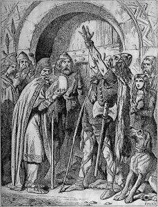 Nominoë - © James Joseph- A) BATAILE DE FONTENOY, 12: En 840, par la mort de LOUIS LE PIEUX, NOMINOE, missus dominicus pour la Bretagne depuis 832 se retrouve dans l'expectative devant la querelle qui déchire les héritiers de l'empereur. Après avoir balancé d'un parti à l'autre, il accepte enfin de prêter serment à Charles en janvier 841. Peut-être envoie-t-il (ou dirige-t-il lui-même?) un contingent breton à la bataille de Fontenoy-en-Puisaye en 841, qui vire à l'hécatombe.