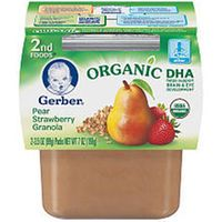 Gerber 2nd Foods DHA Pear Strawberry Granola 2-Pack Baby Food - 3.5 Ounce